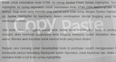 Blog sering di copas pasang aja script anti copas dengan css anti copas maka akan menonaktifkan fitur selected atau block text sehingga tidak terjadi copas.