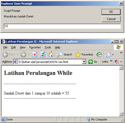 SOURCE CODE Program Menentukan Jumlah Deret Bilangan JavaScript