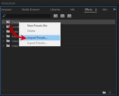إضافة الحزمة داخل قائمة presets بالبرنامج.