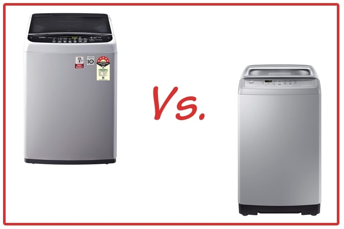 LG T65SNSF1Z (left) and Samsung WA70A4002GS/TL (right) Washing Machine Comparison.
