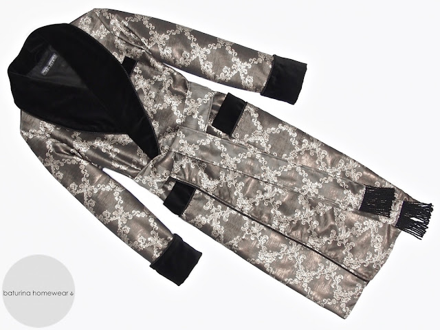 Men's full length dressing gown robe black jacquard cotton warm velvet gentleman's traditional robes paisley vintage style 20th century