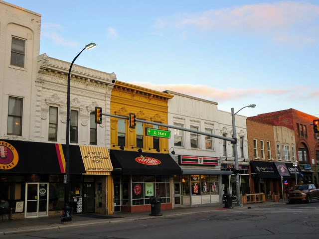 State Street facades in Downtown Ann Arbor Michigan