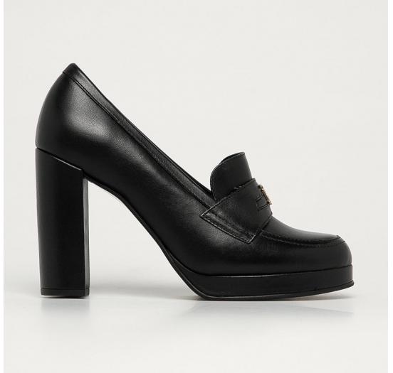 Tommy Hilfiger - Pantofi de piele cu toc gros stil vintage