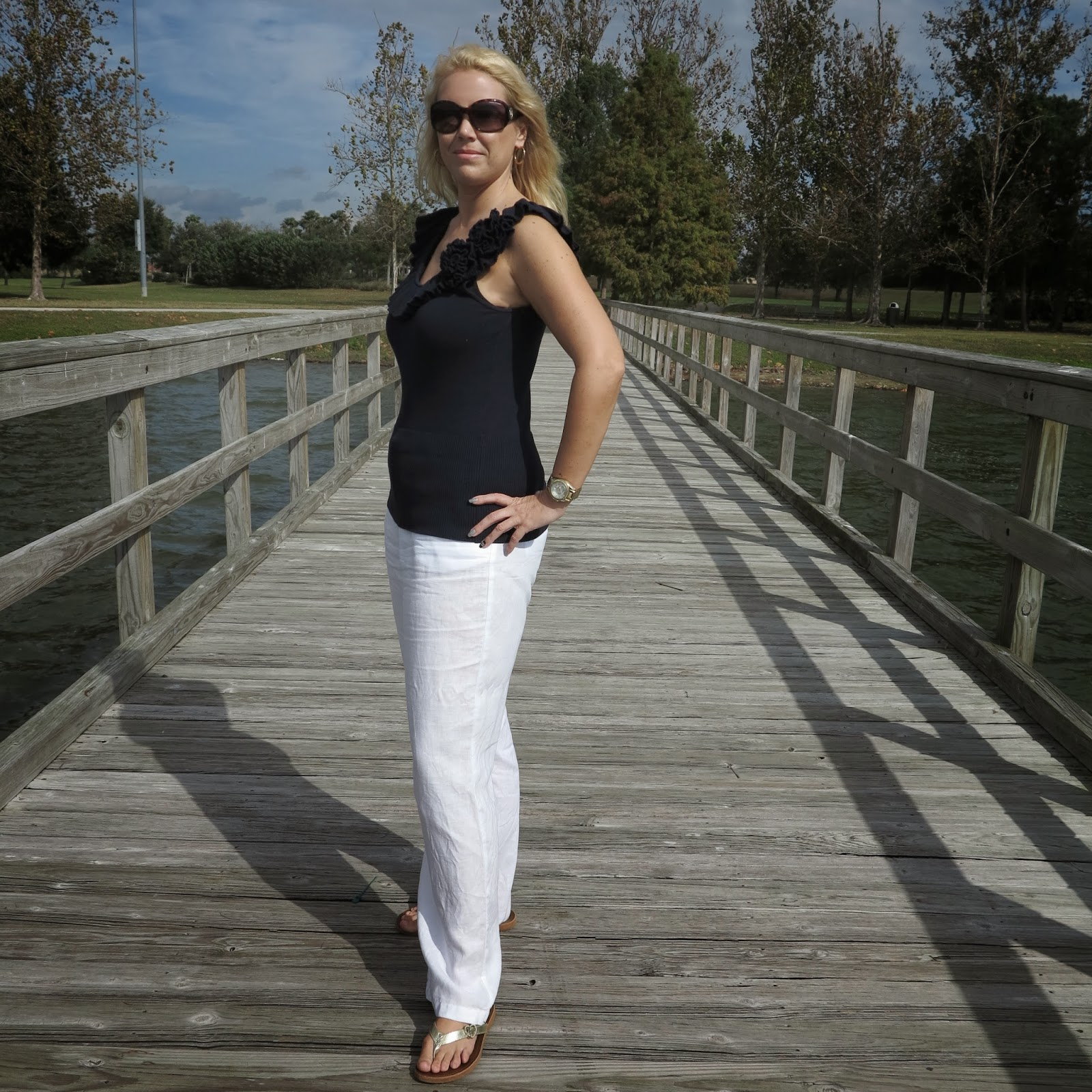 3de5aa0c01 FASHION OVER 40  HOW TO STYLE WHITE LINEN PANTS!