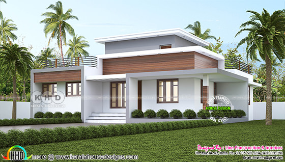 1300 square feet 3 bedroom flat roof house plan single floor
