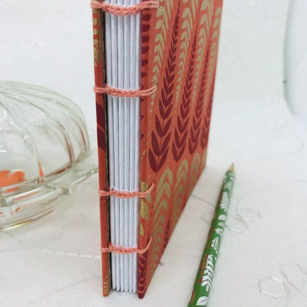 autumn leaf design coptic stitch hand bound journal