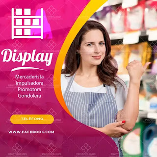 plantilla de anuncio para promocionar y buscar trabajo de display o promotora
