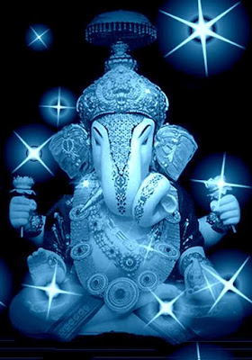 Good Morning Ganesha in Blue for whatsapp wishes