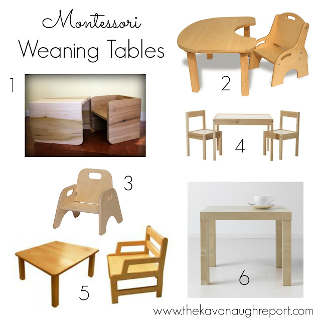 Different weaning table options for Montessori babies.