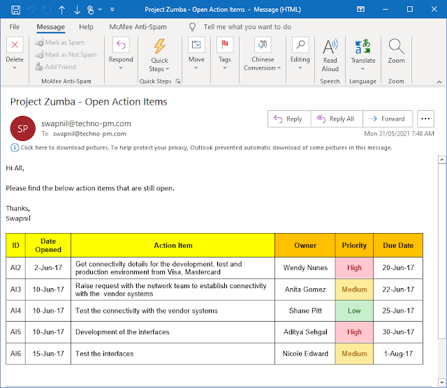 Email template to track actions items