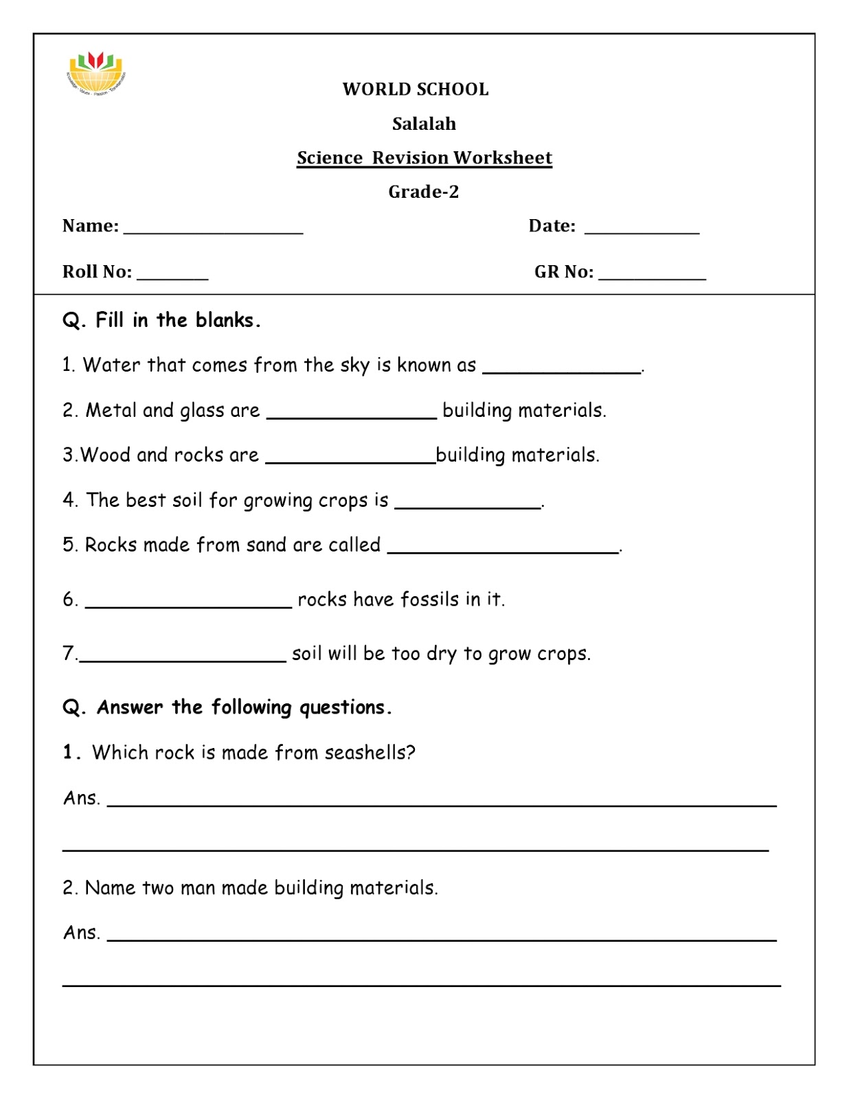 Birla World School Oman Homework For Grade 2 As On 12 04