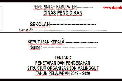 Download SK Penetapan dan Pengesahan Struktur Organisasi Sekolah