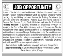 Pakistan Red Crescent Society PRCS Karachi Jobs in Pakistan 2021 Latest Advertisement For Training Manager Post