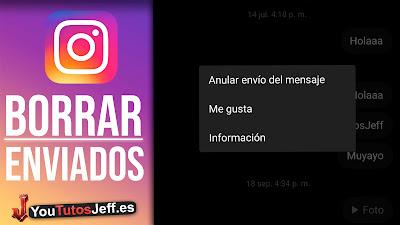 borrar mensajes enviados instagram