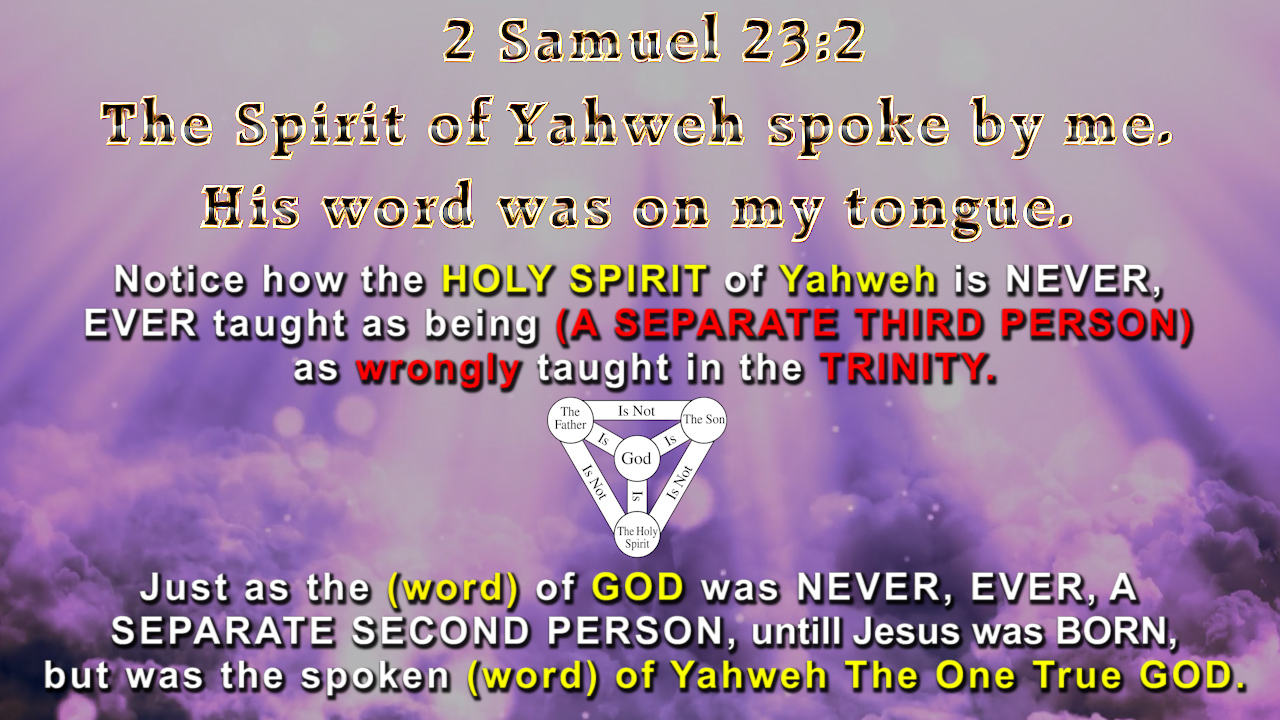 2 Samuel 23:2 The Spirit of Yahweh spoke by me.  His word was on my tongue.
