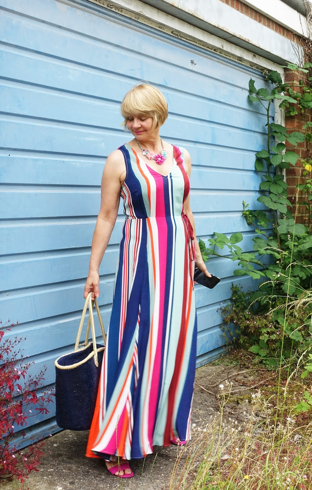 Styling a striped maxi dress for summer nights:  Is This Mutton? the style blog for the over-45s