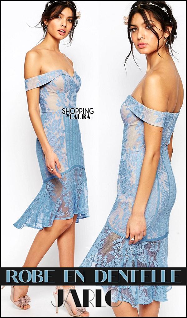 Robe courte de soirée en dentelle Bleu lavande JARLO