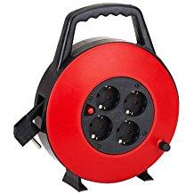 Aigostar 177447 - Cable de alimentación de bobina enrollable de 15 metros y 4 enchufes