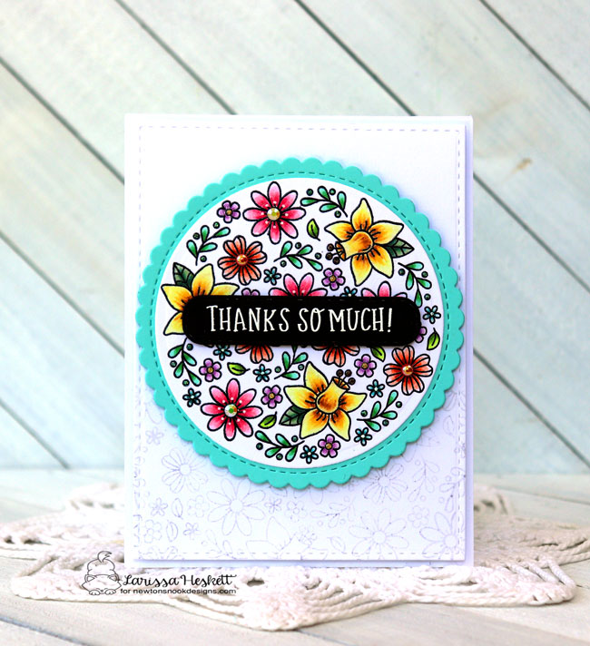 Floral Thank You Card by Larissa Heskett | Floral Roundabout Stamp Set and Circle Frames Die Set by Newton's Nook Designs  #newtonsnook #handmade