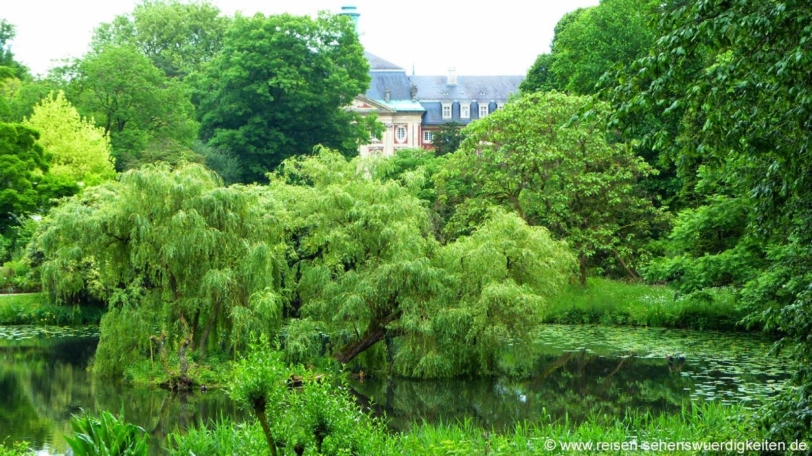 Blick aus dem Botanischen Garten auf das Schloss