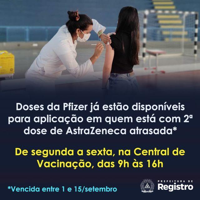 Secretaria de Saúde começa a vacinar com Pfizer  munícipes que receberam 1 dose da AstraZeneca