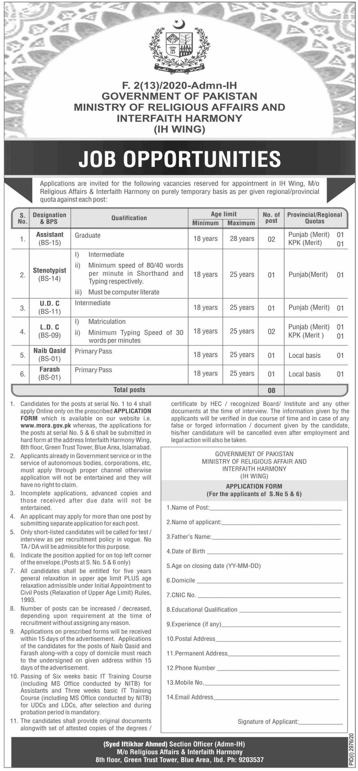 Religious Minister of Pakistan Ministry of Religious Affairs Pakistan - Download Job Application Form - www.mora.gov.pk New Jobs 2021