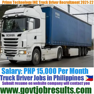 Prime Technology Truck Driver Recruitment in Philippines 2021-22