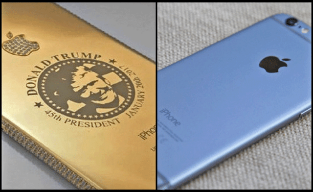 Gold Plated iPhone with Donald Trump Face by GadgetsCircle.com