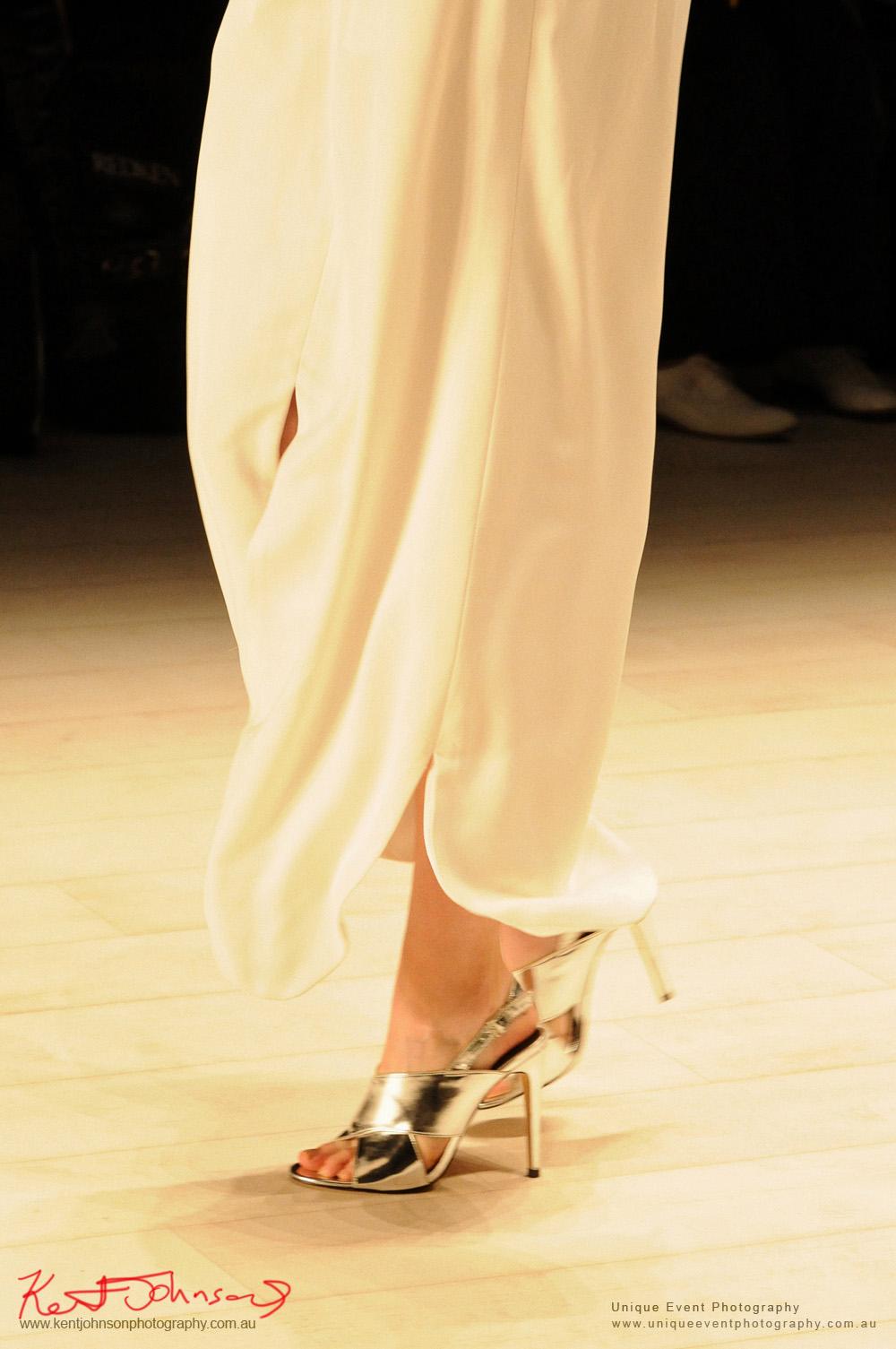 Flowing white pants silver shoes, CHADDI by Chad Nguyen, Designers from Raffles International Showcase 2016 - MBFWA  Photographed by Kent Johnson.