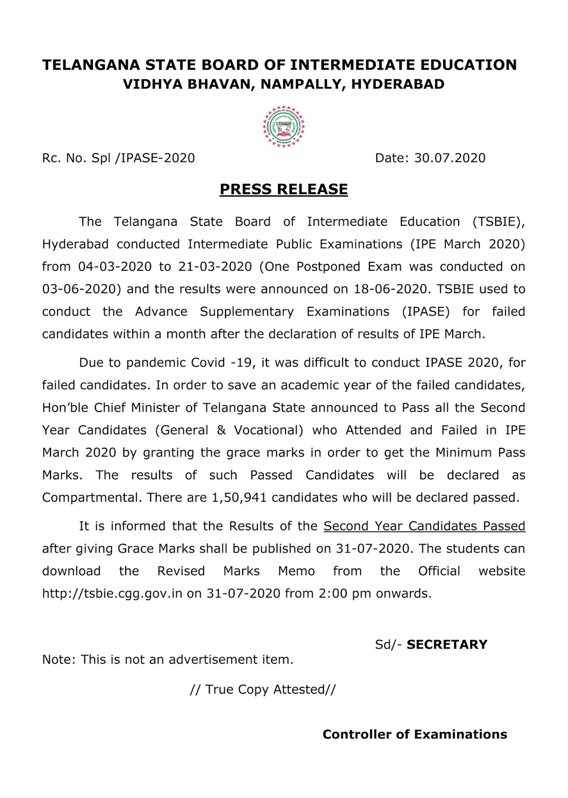 Telangana Intermediate Board Results of the 2nd Year Candidates Grace Marks Notification