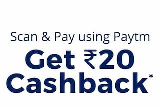 Paytm Offer- Scan & Pay- Flat Rs 20 cashback on completing first 2 transactions
