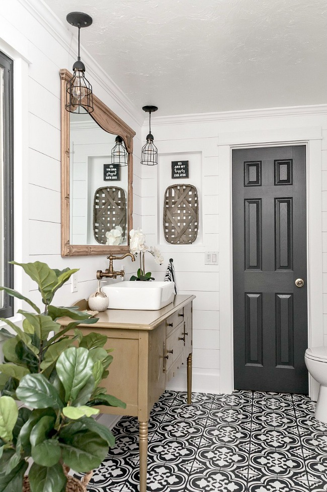 high contrast modern farmhouse bathroom