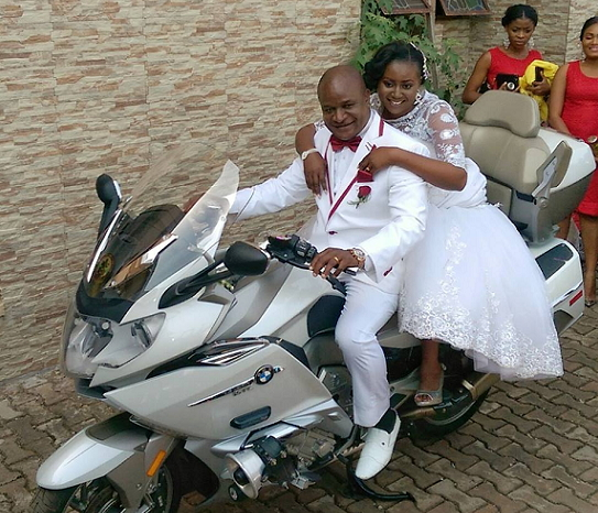 couple used power bike church wedding enugu