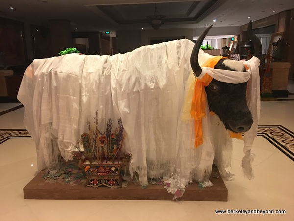 artificial yak in lobby of Tibet Hotel Chengdu in Chengdu, China