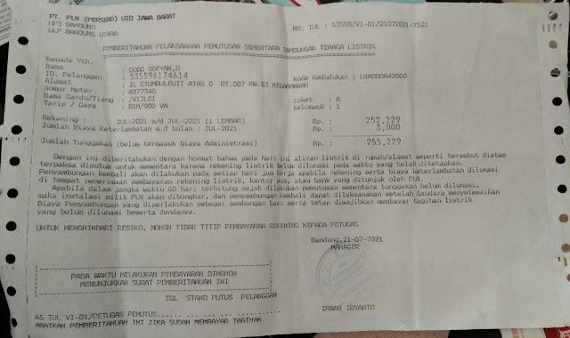 Ancam Konsumen, PLN Rayon Utara Kota Bandung berpotensi melanggar UU Perlindungan Konsumen