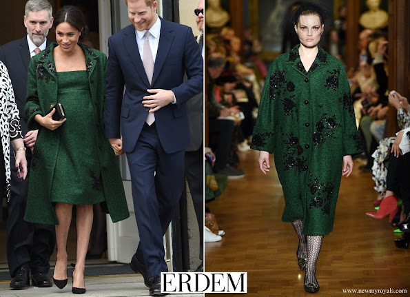 Meghan Markle wore Erdem coat and dress from Autumn Winter 2019 collection