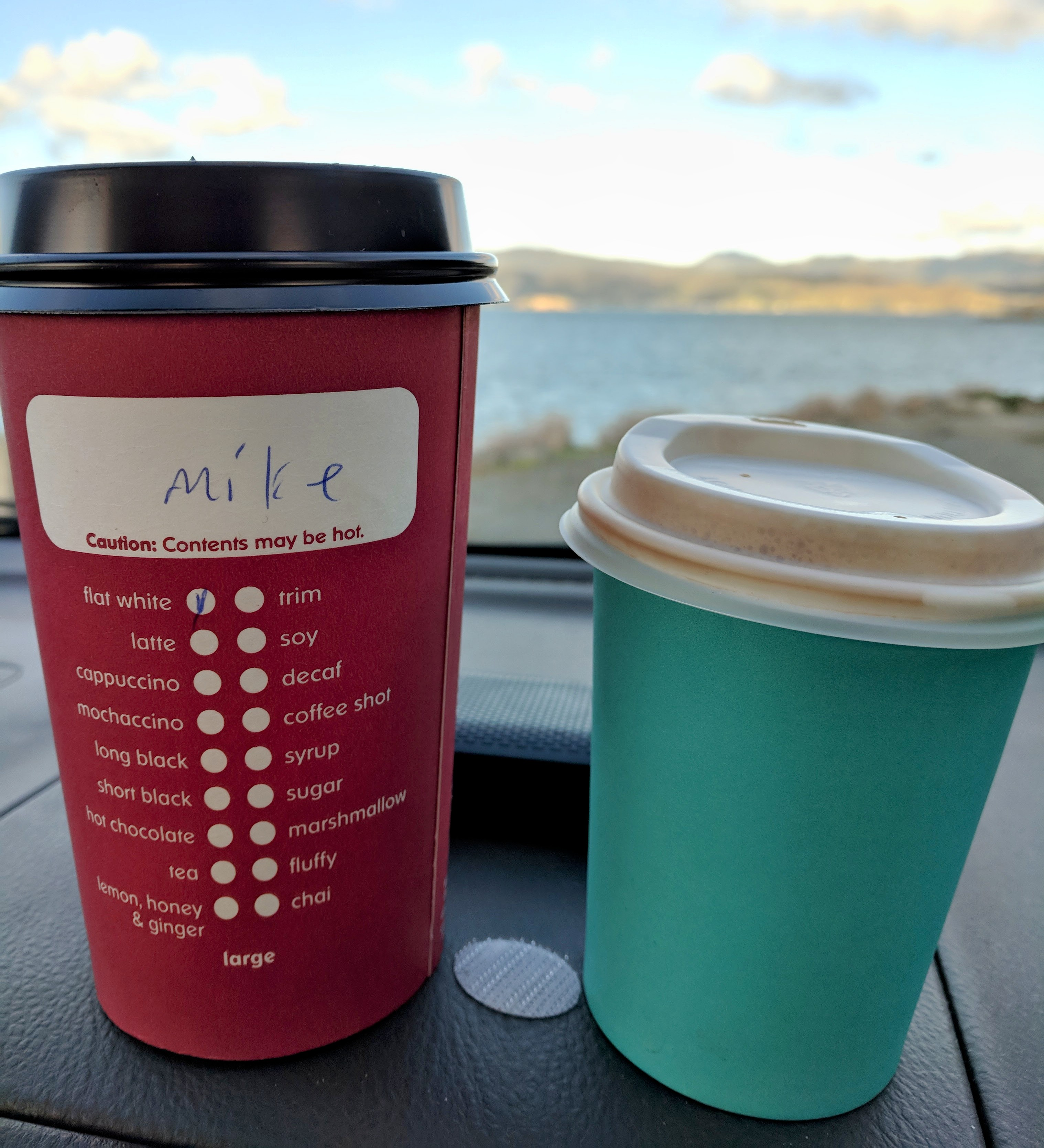 Two takeaway coffees, both 'large', apparently.