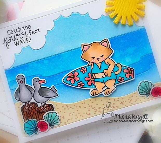 The Purr-fect Wave Card & Video by Maria Russell | Newton's Perfect Wave and Gull Friends Stamp Sets by Newton's Nook Designs #newtonsnook #handmade