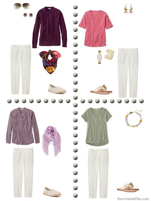 A travel capsule wardrobe in an olive, gold, and purple color palette