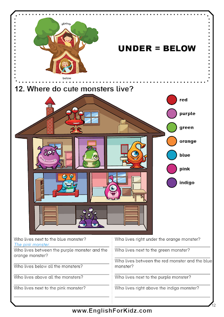 Prepositions of place worksheet - above, under, next to, between