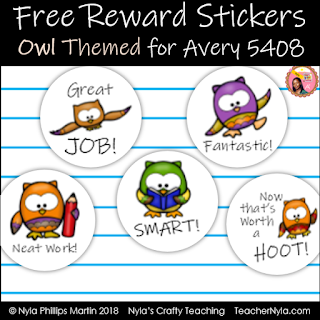 Classroom Reward Stickers Owl themed for Avery 5408 round labels