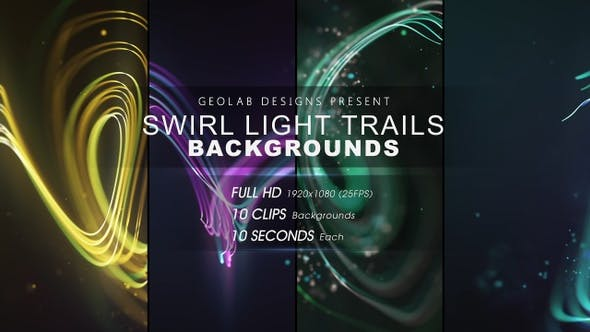 Videohive - Swirl Light Trails Backgrounds l Colorful Trails Backgrounds l Flow Lines Backgrounds 27511667