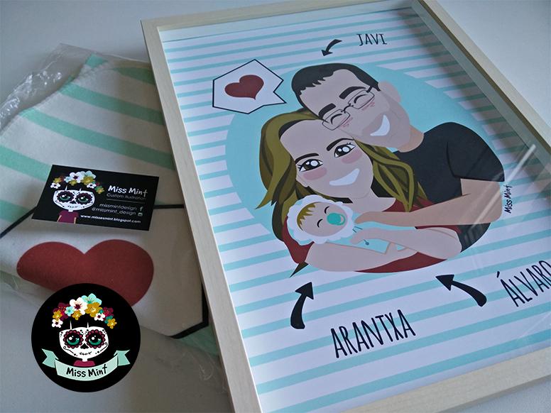 ilustraciones personalizadas miss mint kit manta de bebé más cuadro