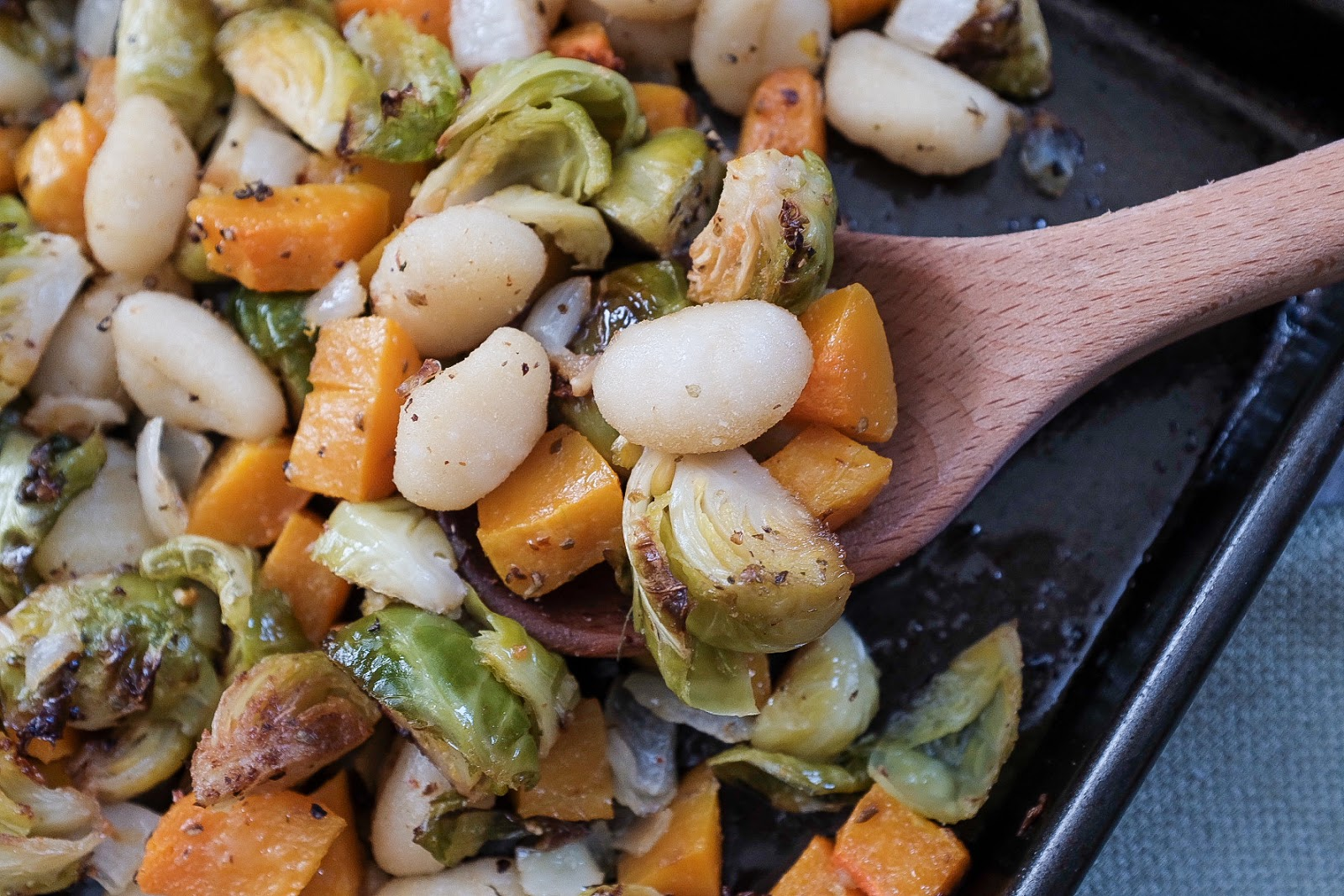 Sheet Pan gnocchi with Brussels Sprouts and Butternut Squash | Local Food Rocks
