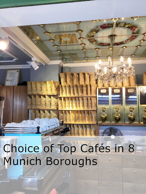 Choice of Top Cafes in eight Munich boroughs.