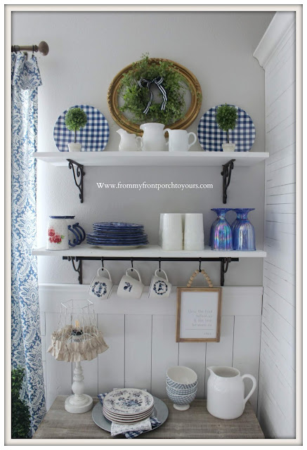 Breakfast- Nook -Makeover-DIY-Open-Shelving-Blue & White-Dinnerware-Pioneer Woman-Gingham-Wainscoting-From My Front Porch To Yours