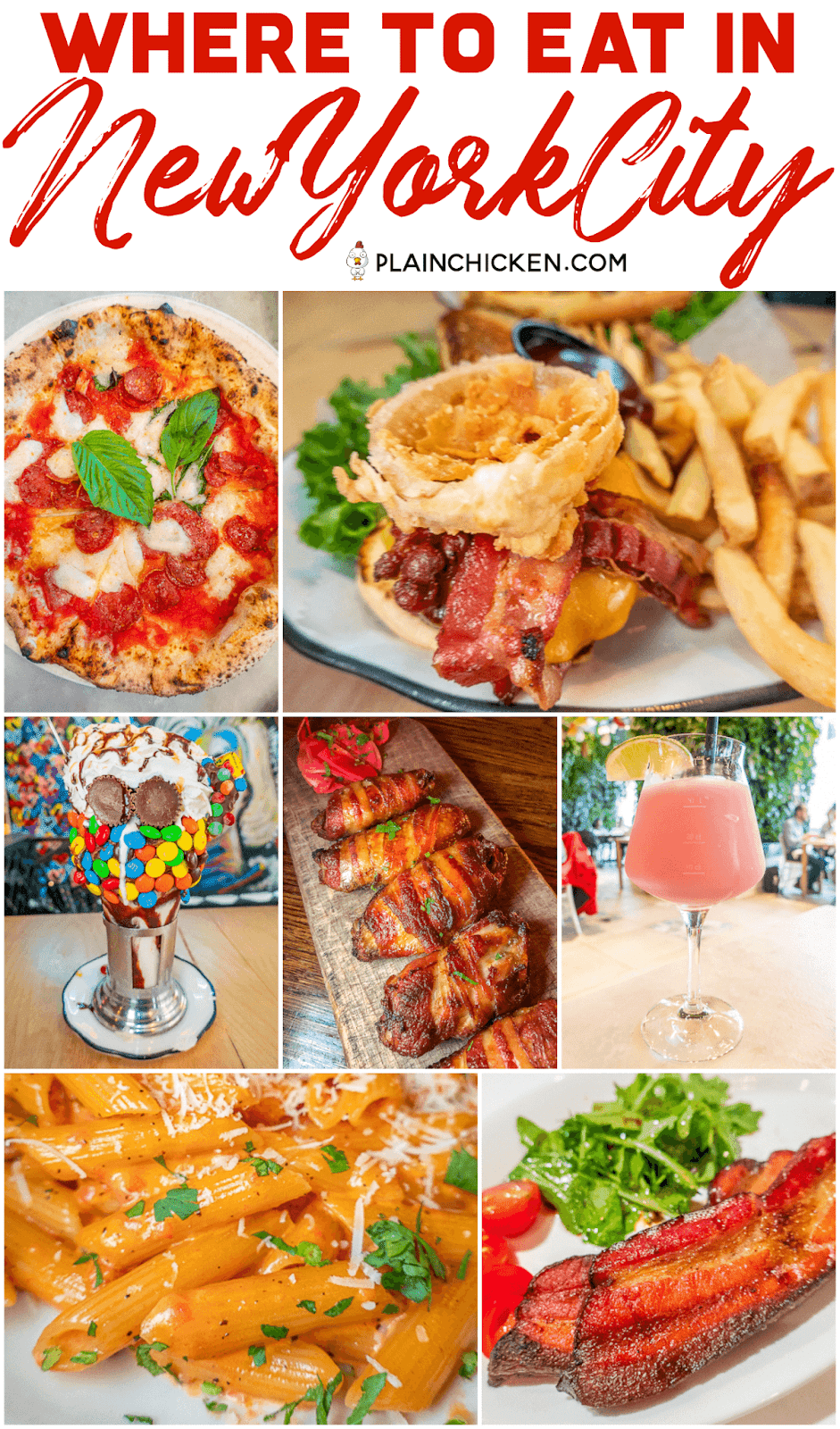 Where to Eat in NYC - six of our favorite places to eat in New York City. Burgers, steaks, PIZZA, pasta and crazy milkshakes. Save this list for your next trip! #travel #nyc