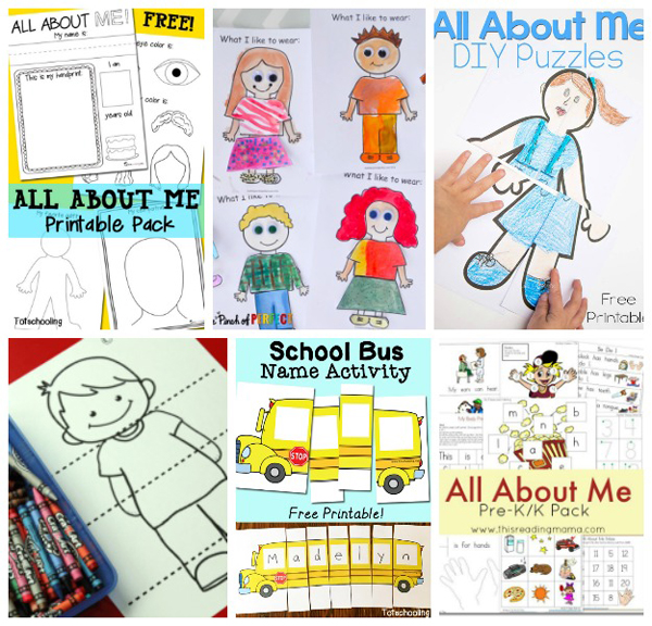 Free All About Me theme printables