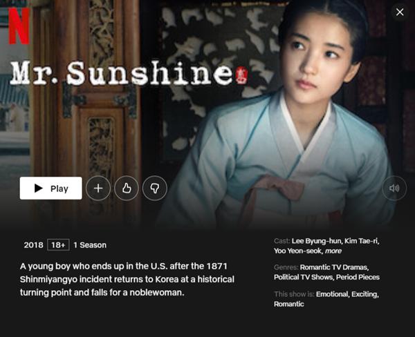 Popular Korean Drama on Netflix Mr Sunshine