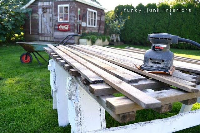 See how these cheap sanded-down cedar planks about to become a rustic coffee table surface!
